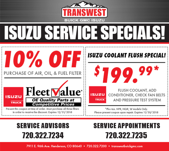 Isuzu Service & Parts Specials